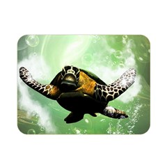 Beautiful Seaturtle With Bubbles Double Sided Flano Blanket (Mini)