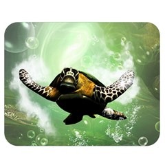 Beautiful Seaturtle With Bubbles Double Sided Flano Blanket (Medium)