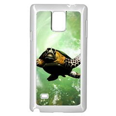 Beautiful Seaturtle With Bubbles Samsung Galaxy Note 4 Case (White)