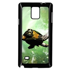 Beautiful Seaturtle With Bubbles Samsung Galaxy Note 4 Case (Black)