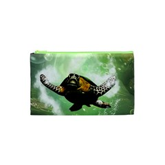 Beautiful Seaturtle With Bubbles Cosmetic Bag (XS)