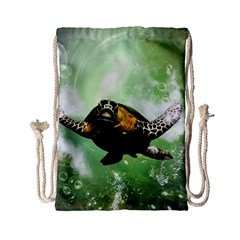 Beautiful Seaturtle With Bubbles Drawstring Bag (Small)