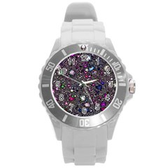 Sci Fi Fantasy Cosmos Pink Round Plastic Sport Watch (l) by ImpressiveMoments