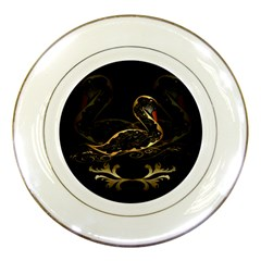 Wonderful Swan In Gold And Black With Floral Elements Porcelain Plates by FantasyWorld7