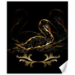 Wonderful Swan In Gold And Black With Floral Elements Canvas 20  X 24