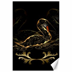 Wonderful Swan In Gold And Black With Floral Elements Canvas 24  X 36  by FantasyWorld7