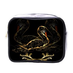 Wonderful Swan In Gold And Black With Floral Elements Mini Toiletries Bags by FantasyWorld7