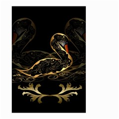 Wonderful Swan In Gold And Black With Floral Elements Small Garden Flag (two Sides) by FantasyWorld7