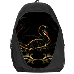 Wonderful Swan In Gold And Black With Floral Elements Backpack Bag by FantasyWorld7