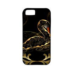 Wonderful Swan In Gold And Black With Floral Elements Apple Iphone 5 Classic Hardshell Case (pc+silicone) by FantasyWorld7
