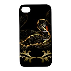 Wonderful Swan In Gold And Black With Floral Elements Apple Iphone 4/4s Hardshell Case With Stand by FantasyWorld7