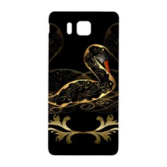 Wonderful Swan In Gold And Black With Floral Elements Samsung Galaxy Alpha Hardshell Back Case by FantasyWorld7