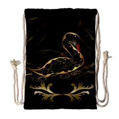 Wonderful Swan In Gold And Black With Floral Elements Drawstring Bag (large) by FantasyWorld7
