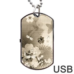Vintage, Wonderful Flowers With Dragonflies Dog Tag Usb Flash (two Sides)  by FantasyWorld7