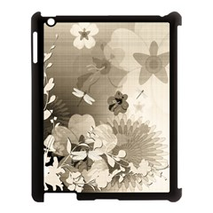 Vintage, Wonderful Flowers With Dragonflies Apple Ipad 3/4 Case (black) by FantasyWorld7
