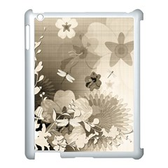 Vintage, Wonderful Flowers With Dragonflies Apple Ipad 3/4 Case (white) by FantasyWorld7