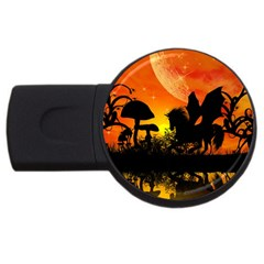 Beautiful Unicorn Silhouette In The Sunset Usb Flash Drive Round (4 Gb)  by FantasyWorld7