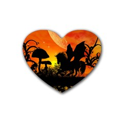 Beautiful Unicorn Silhouette In The Sunset Heart Coaster (4 Pack)  by FantasyWorld7