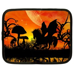 Beautiful Unicorn Silhouette In The Sunset Netbook Case (large)	 by FantasyWorld7