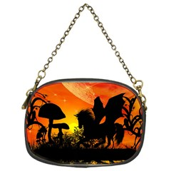 Beautiful Unicorn Silhouette In The Sunset Chain Purses (one Side)  by FantasyWorld7