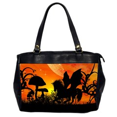 Beautiful Unicorn Silhouette In The Sunset Office Handbags (2 Sides)  by FantasyWorld7