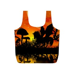 Beautiful Unicorn Silhouette In The Sunset Full Print Recycle Bags (s)  by FantasyWorld7