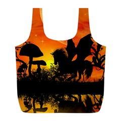 Beautiful Unicorn Silhouette In The Sunset Full Print Recycle Bags (l)  by FantasyWorld7
