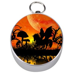 Beautiful Unicorn Silhouette In The Sunset Silver Compasses by FantasyWorld7