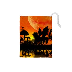 Beautiful Unicorn Silhouette In The Sunset Drawstring Pouches (small)  by FantasyWorld7