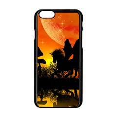 Beautiful Unicorn Silhouette In The Sunset Apple Iphone 6/6s Black Enamel Case by FantasyWorld7