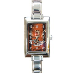 Microphone With Piano And Floral Elements Rectangle Italian Charm Watches by FantasyWorld7