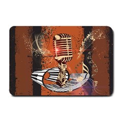 Microphone With Piano And Floral Elements Small Doormat  by FantasyWorld7