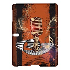 Microphone With Piano And Floral Elements Samsung Galaxy Tab S (10 5 ) Hardshell Case