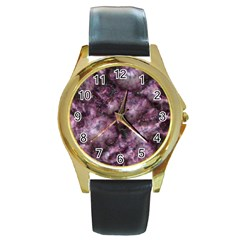 Alien Dna Purple Round Gold Metal Watches by ImpressiveMoments