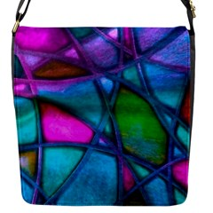 Imposant Abstract Teal Flap Messenger Bag (s) by ImpressiveMoments