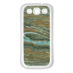 Brown And Green Marble Stone Print Samsung Galaxy S3 Back Case (white) by Dushan