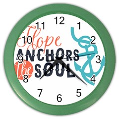 Hope Anchors The Soul Nautical Quote Color Wall Clocks by CraftyLittleNodes