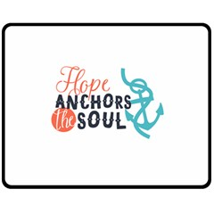 Hope Anchors The Soul Nautical Quote Fleece Blanket (medium)  by CraftyLittleNodes