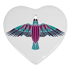 Stained Glass Bird Illustration  Heart Ornament (2 Sides)