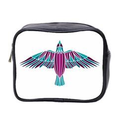 Stained Glass Bird Illustration  Mini Toiletries Bag 2 Side