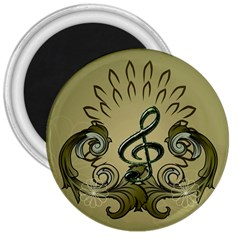 Decorative Clef With Damask In Soft Green 3  Magnets by FantasyWorld7