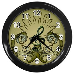 Decorative Clef With Damask In Soft Green Wall Clocks (black) by FantasyWorld7