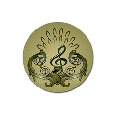 Decorative Clef With Damask In Soft Green Magnet 3  (round) by FantasyWorld7