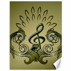 Decorative Clef With Damask In Soft Green Canvas 36  X 48   by FantasyWorld7