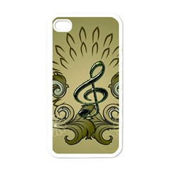 Decorative Clef With Damask In Soft Green Apple Iphone 4 Case (white) by FantasyWorld7