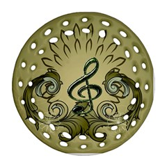 Decorative Clef With Damask In Soft Green Round Filigree Ornament (2side)