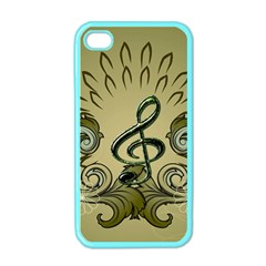 Decorative Clef With Damask In Soft Green Apple Iphone 4 Case (color) by FantasyWorld7