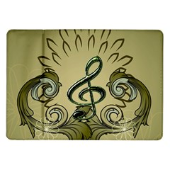 Decorative Clef With Damask In Soft Green Samsung Galaxy Tab 10 1  P7500 Flip Case
