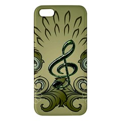 Decorative Clef With Damask In Soft Green Iphone 5s Premium Hardshell Case by FantasyWorld7
