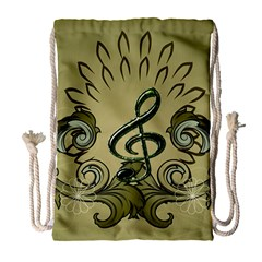Decorative Clef With Damask In Soft Green Drawstring Bag (large) by FantasyWorld7
